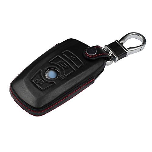 M.JVisun Men Women Genuine Leather Key Fob Cover for BMW 1 Series 2 3 4 5 6 7 Series X3 X4 M2 M3 M4 M5 M6 Key, Car Remote Key Case Pouch Bag with Key Ring Kit Keychain Holder Hook - Black