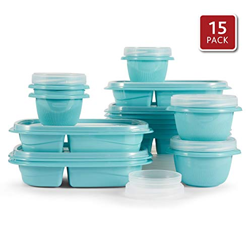 Rubbermaid TakeAlongs 10 Day Meal Prep Kit, 3.7 Cup, Set of 15 (30 Pieces Total), Reflecting Pool | Great for Lunch for Adults & Kids, Bento Box Style | Reusable & Stackable