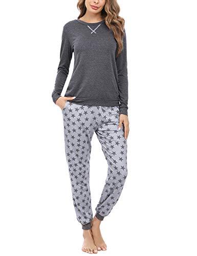 Hawiton Pijamas para Mujer Invierno de algodón, Manga Larga Camiseta y Pantalones de Estampado de Estrellas Conjunto de Ropa de Dormir 2 Piezas,Talla Grande