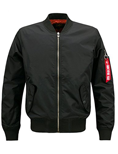 Lentta Men's Casual Autumn Thin Baseball Bomber Short Aviator Flight Zip Jacket (Large, Black)