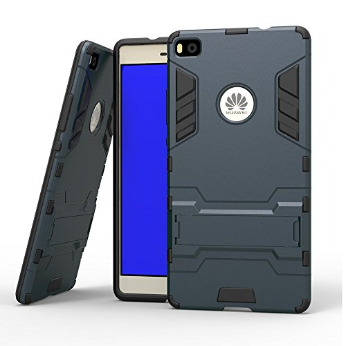 Huawei P8 Hülle, Huawei P8 Hülle Case,MHHQ Hybrid 2in1 TPU+PC Schutzhülle Rugged Armor Case Cover Dual Layer Bumper Backcover mit Ständer für Huawei P8 -Black Plus Gray
