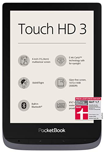 PocketBook e-Book Reader 'Touch HD 3' (16 GB Speicher; 15,24 cm (6 Zoll) E-Ink Carta Display; SMARTlight; Wi-Fi; Bluetooth) in Silbergrau