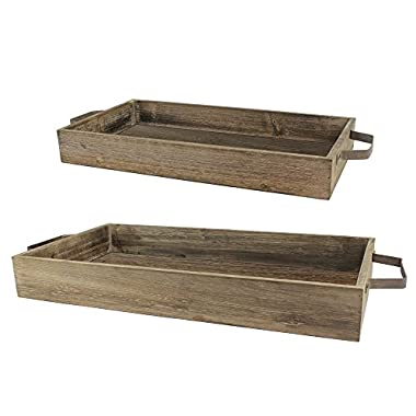 Stonebriar Nesting Wooden Rectangle Serving Tray Set with Metal Handles, Rustic Brown Wood Butler Trays, For Serving Food and Drink, a Unique Coffee Table Centerpiece, or Desk Organizer for Documents