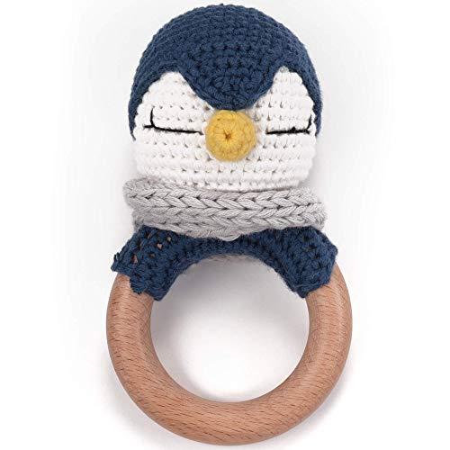 Beißring gehäkelt süßer Pinguin mit integrierter Babyrassel, Greifling Spielzeug Holz und Baumwolle | Geschenk zur Geburt, Babyparty, Handmade Rassel für Baby & Kinder (Pinguin)