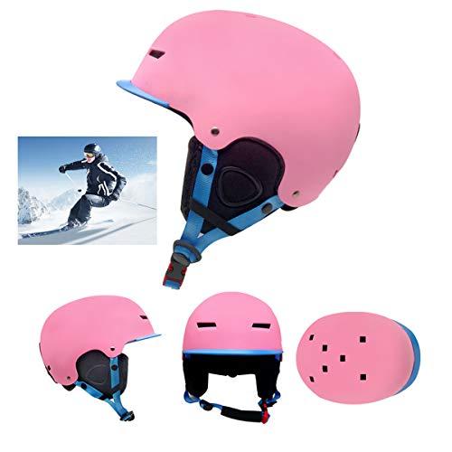 Qinsir Casque Snowboard avec Adulte,Casque De Ski De Course Certifié EN1077 Casque De Ski pour Le Ski Tête Oreille en ABS + EVA pour Kayak Canoë Snowboard Skate Ski Surf,Rose,S(50~54CM)