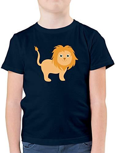 Tiermotive Kind - Süßer Löwe - 140 (9/11 Jahre) - Dunkelblau - Tshirt Tiere Kinder - F130K - Kinder Tshirts und T-Shirt für Jungen