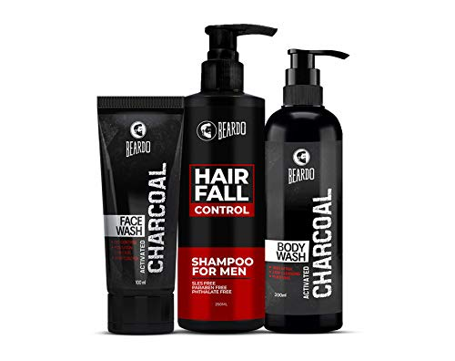 Beardo Bath and Body Combo for Men with Hair Fall Control Shampoo, Activated Charcoal Facewash and Activated Charcoal Bodywash
