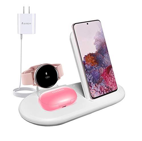 Cargador Inalámbrico 3 en 1, Base de Carga Inalámbrica Compatible con Samsung Galaxy S20 S10 S9, Note 10 8 9, Galaxy Buds Live Buds +, Galaxy Watch/Watch 3 / Active/Active 2 (White)