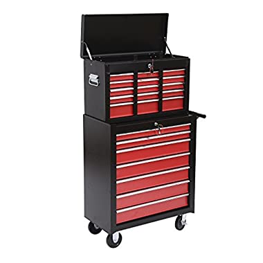 HomCom Garage Rolling Tool Chest Cabinet with 16 Drawers - Black and Red