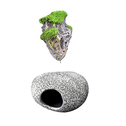 MagiDeal Aquarium Schwimmenden Felsen mit Saugnapf, Fisch Stein Höhle, Für Dekor Aquarium