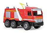 Lena 02058 Starke Riesen Feuerwehr Mercedes Benz Actros, Giga Trucks Feuerwehrauto ca. 65 cm, Löschfahrzeug mit 3 Achsen, 1,5 Liter Tank und Wasserkanone bis 8 Meter, für Kinder ab 3 Jahre, Rot