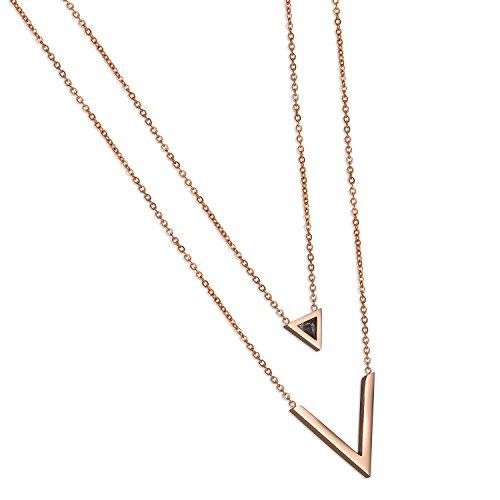 Cupimatch V Kurz Halskette Doppelt mit Dreieck Ahänger Edelstahl Zirkonia Schlüsselbein Kette für Damen Mädchen 39cm, Rosegold