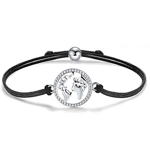 J.Endéar Bracelet Carte du Monde Argent 925 Filigrane Cordon Bracelet pour Femmes Filles 24cm Réglable, Fait Main