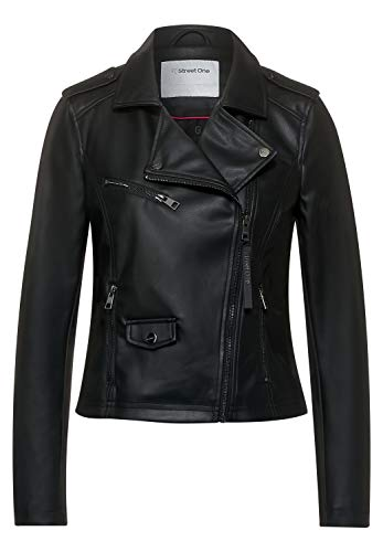 Street One Damen Fake-Lederjacke aus PU Black 44