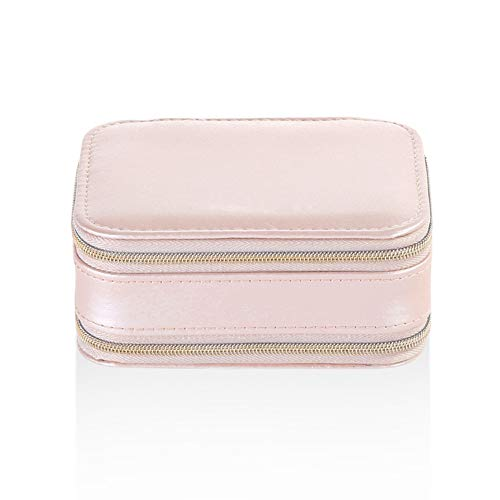 Asudaro Jewellery Case Travel Jewellery Box Portable Organiser Display Double Layer Storage Case for Rings Earrings Necklaces Jewellery Accessories - Pink - One Size