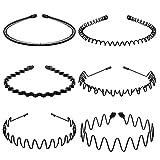 Lurrose 6Pcs Unisex Wavy Headband Metal Hair Hoop Ordinary Headwear Hair Accessories for Women Men