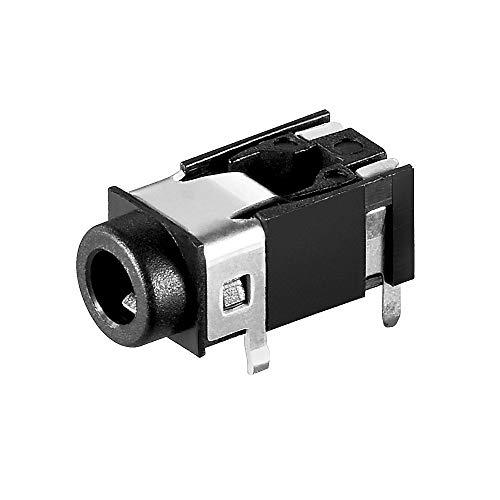 BestPlug Audio Stereo Aux in Out 3,5mm Klinke Einbau-Buchse Terminal weiblich 4pol, Schwarz