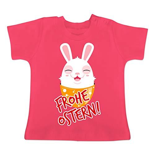 Anlässe Baby - Frohe Ostern - Osterhase - 6/12 Monate - Fuchsia - BZ02 - Baby T-Shirt Kurzarm