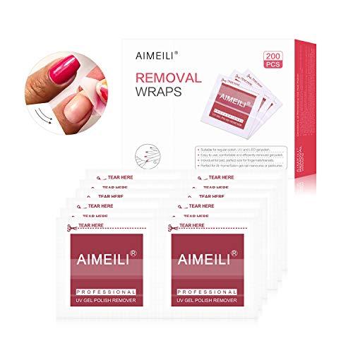 AIMEILI Quitaesmalte Removedores Pads Limpiador de Uñas Gel para Preparación y Acabado de la Manicura de Gel Esmalte Semipermanente/Removal Wraps - 200 pza