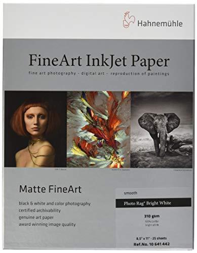Hahnemuhle Photo Rag, Extra Bright White Inkjet Paper, 310 gsm, 8.5x11', 25 Sheets