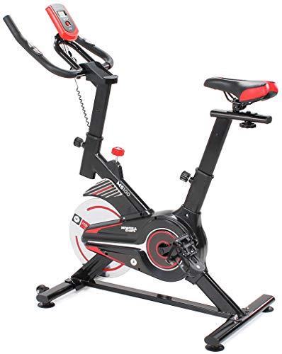 Miweba Sports Profi Indoor Cycling Bike Ergometer Heimtrainer MS100 - 10 Kg Schwungmasse - Smartphonehalterung - Pulsmessung (Schwarz/Rot)