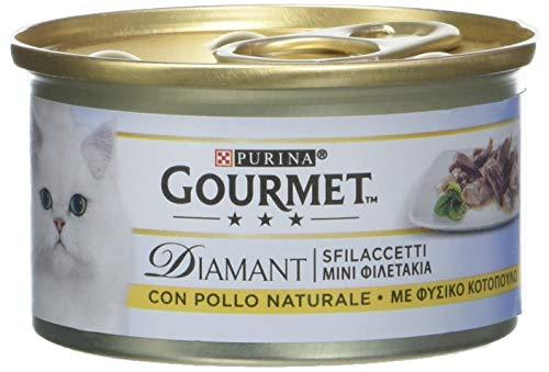 Purina Gourmet Diamant Húmedo Gato Sfilaccetti con Pollo Delicado y Bolitas con Pavo con Sabor – 96 latas de 85 g Cada una (24 Paquetes de 4 x 85 g)