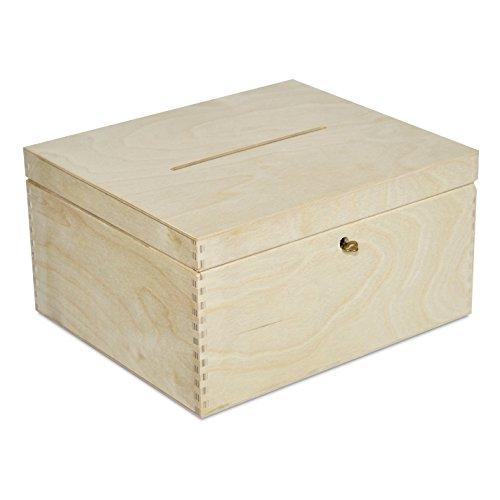 Creative Deco Holzkiste mit Deckel Geldgeschenke Hochzeit Holzbox | 29 x 25 x 15 cm | mit Schloss und Schlüssel Geschenkkarten Box Geldbox Briefbox | Unlackiert Kasten | Ideal für Lagerung