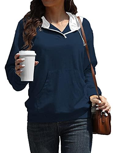 Jusfoouo Sudadera con capucha para mujer, de manga larga, ligera, con bolsillo frontal, estilo urbano, A-azul marino., XL