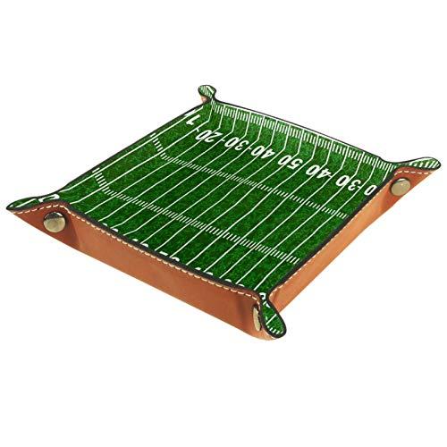 YATELI Kleine Aufbewahrungsbox,Herren-Valet-Tablett,American Football Feld grün,Leder Catchall Organizer für Coin Box Key Schmuck