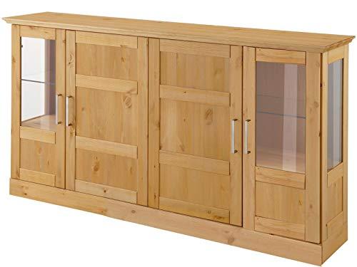 Loft24 Sideboard Landhaus 160 x 33 x 85 cm Vitrine Wohnzimmer Schrank Anrichte Kiefer massiv gebeizt geölt