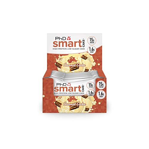 PhD Nutrition Smart Cake-High Protein Low Sugar Cake, Carrot Cake, Pack of 12