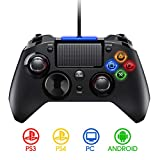 【2020 NEW】PICTEK PS4 Controller- Wired Gaming Gamepad mit Dual-Vibration-Turbo und Trigger-Tasten für PlayStation 4/ PlayStation 3/ PC (Windows XP/ 7/8/ 8.1/ 10)/ Android/ Steam, Schwarz
