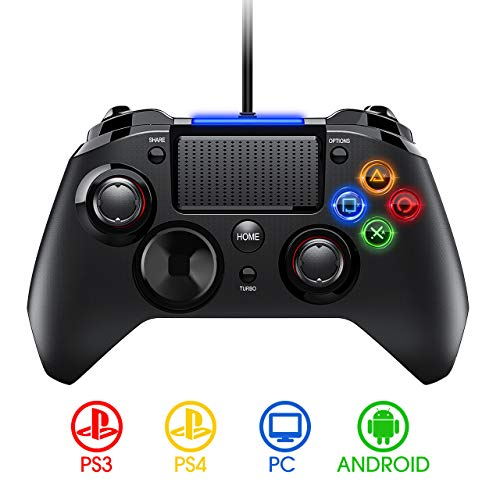 PICTEK Mando PS4 con Cable, Diseño Asimétrico para Manos Grandes, Joysticks con Doble Vibracion Turbo para PS4 / PS3 / PC (Windows XP/7/8/8.1/10) /Android/Steam, Negro