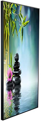 Ecowelle Infrarotheizung mit Bild   600 Watt   60x120x2 cm   Infrarot Heizung    Made in Germany  k 55 Bambus mit Steine