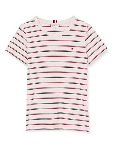 Tommy Hilfiger Damen Th Essential Round-nk Top Ss Sport Pullover, Pink (Global STP Oxford/Pale Pink 0jz), 36 (Herstellergröße: Medium)