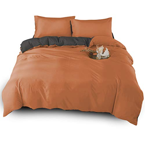 Adams 4PC Duvet Cover Quilt Cover Complete Bedding Set Reversible Extremely Soft & Durable Comforter Cover Anti Allergic Microfibre Cover With Free Fitted Sheet Included orange Grey King