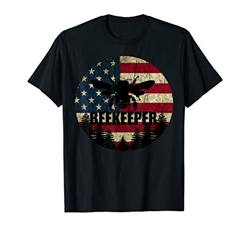 Patriotic Beekeeper Shirt American Flag 4th of july Gift Bee T-Shirt