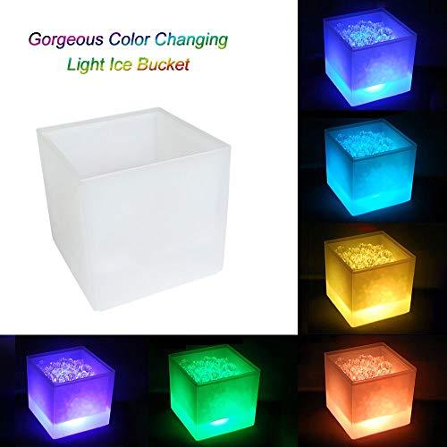 GOHHK LED-Eiskübel, 3,5 l Farbwechsel LED-Kühlereimer mit großem Fassungsvermögen Doppelschichtiger quadratischer Bar-Biereis-Eimer, für KTV Party Bar Home Wedding