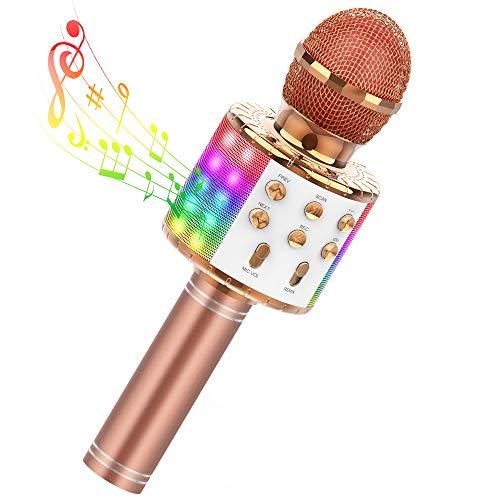 Karaoke Mikrofon, TECBOSS Drahtlose Bluetooth Mikrofon mit Lautsprecher, Tragbarer Karaoke Mikrofon Kinder mit Glowing LED Panels, Geschenk für 7 8 10 12 14-Jungen und Mädchen
