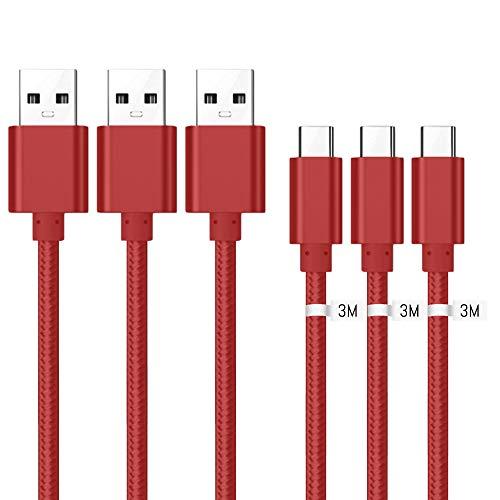 Kit Me Out Kabel Micro USB [3M 3 Stuks] Compatibele met Huawei P Smart+, 3 Meter [3.1A Snel Opladen] In Sterk Gevlochten Nylon Snel Opladen & Synchronisatiekabel Datakabel Kabel (Rood)
