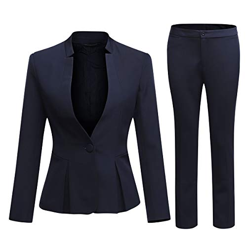 Women's Business Office 1 Button Blazer Jacket and Pants Suit Set (Blazer and Pants-Navy, XL)