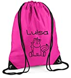Turnbeutel | Motiv Einhorn | inkl. Namensdruck | mit Namen Personalisieren & Bedrucken | Sportbeutel Schuhbeutel pink für Mädchen Kinder