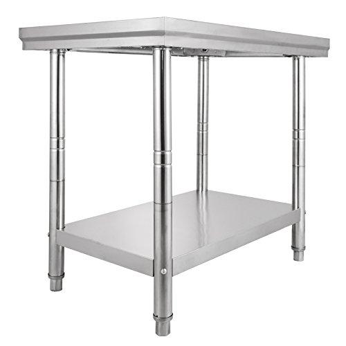Chaneau Table De Travail Cuisine 60X76X80cm Plan De Travail Cuisine En 2 Etage Kitchen Work Food Prep Table (60X76X80cm)