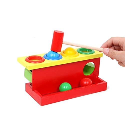 JKMQA dx Juguetes Color a Juego de Madera Montessori acumulación de Mano Mano Martillado Bola de Juguete Padre-niño Juguetes interactivos aprendiendo Juguetes de bebé Educativo (Color : Rojo)