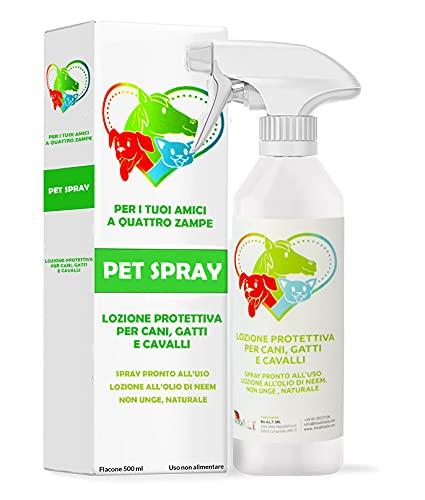 Protezione Spray con Olio di Neem per Cani, Gatti e Cavalli - Repellente Contro Pulci, Zecche e Zanzare - Azione Naturale e Mirata Contro i Parassiti , (spray pronto uso 500 ml)