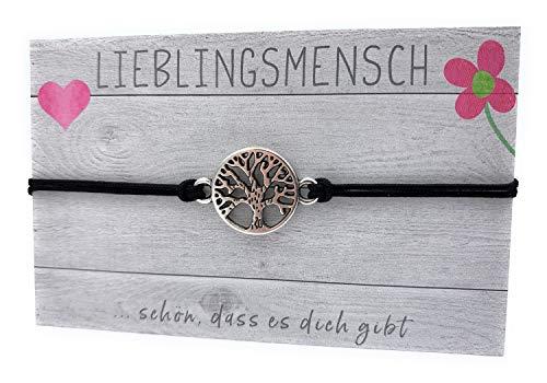 stella-diamonds - Feine Zarte Armbänder - Damen Makramee Lebensbaum Armband - Mädchen Schwester Textil-Armband Filigran - Glücksbringer Love Stoff-Armband - Handmade Armkettchen dünn (Black)