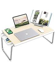 Nulaxy laptop sängbricka skrivbord fällbart laptopbord med förvaringsbox och bokstativ för säng och soffa, sängskrivbord, bärbar dator, skriva, studera, äta, lästställ (vit ek)