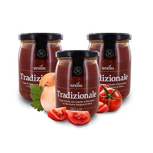 Ursini Salsa de Tomate con Cebolla y AOVE, Salsa Italiana clásica SIN azúcar - 260 gr (Paquete de 3 Piezas)