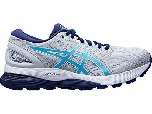 ASICS Gel-Nimbus 21 - Zapatillas de correr para mujer, Gris (Glacier Gris/Ice Mint), 41 EU