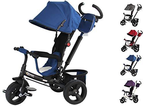 Clamaro 'Buttler GT' 4in1 Kinder Dreirad ab 1 Jahr mit lenkbarer Schubstange, flüsterleise Gummireifen und Sonnendach, durch 4-Fach Umbau für ab ca. 1-5 Jahre geeignet, Schwarz/Navy Blau